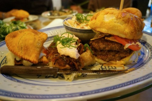 The Double Down, Kimchi Potstickers and Chinese Pineapple Bun Burger