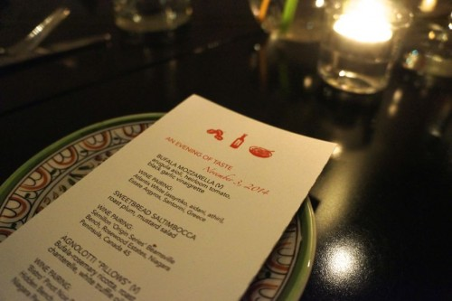 The menu for Cafe Bar Pasta's one year anniversary celebration