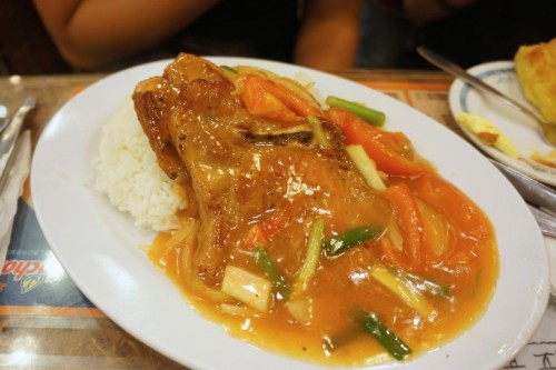Pork Chops with Tomato Sauce on Rice
