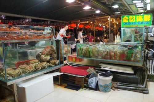 Tanks of fresh seafood