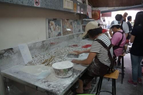 Making sweet potato dumplings