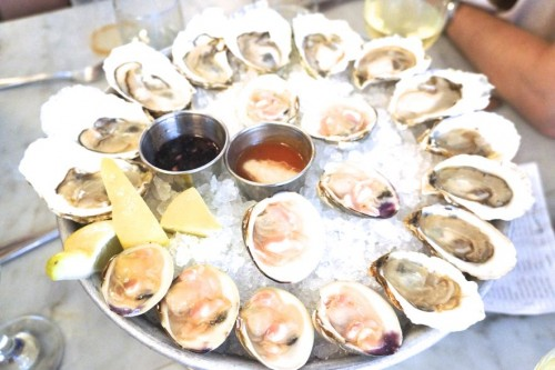 A selection of oysters and clams from the raw bar