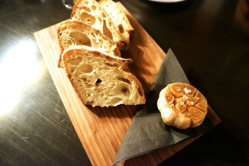 Complimentary bread with roasted garlic