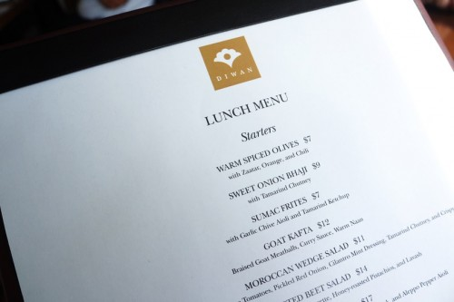 The lunch menu