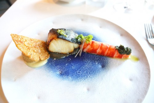 Course 2 – sablefish with miso and sous-vide lobster tail.