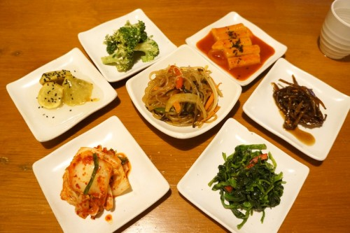 The banchan spread