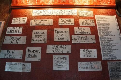 The brunch menu