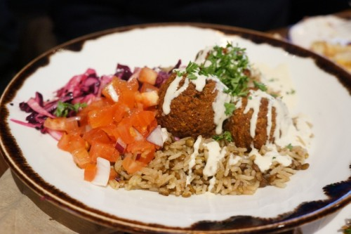 Falafel over rice